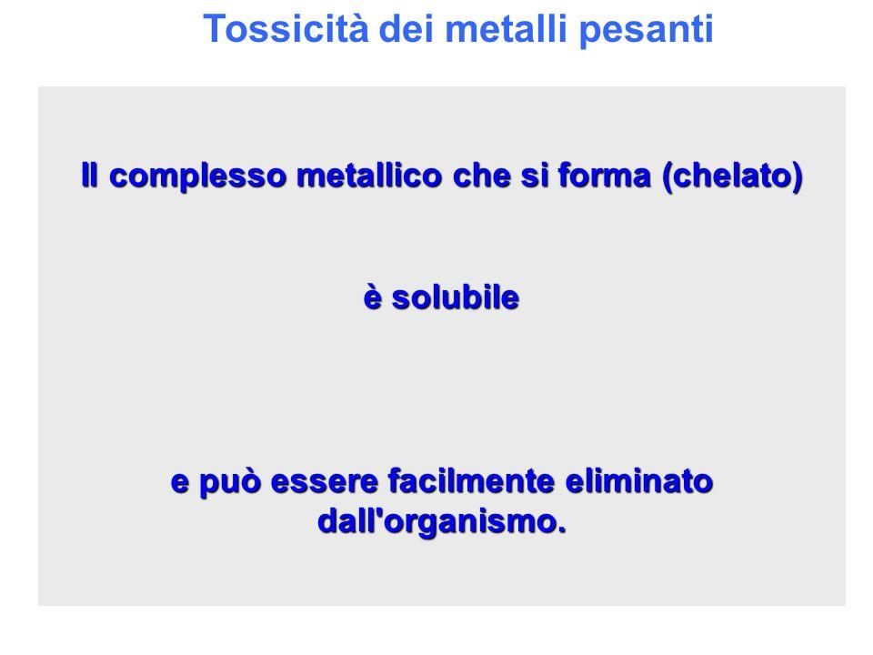 Tossicità dei metalli pesanti Il complesso metallico che si forma (chelato) è solubile e può essere facilmente eliminato dall'organismo.