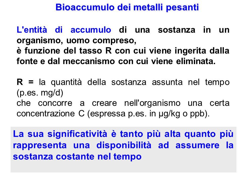 Bioaccumulo dei metalli pesanti L'entità di accumulo di una sostanza in un organismo, uomo compreso, è funzione del tasso R con cui viene ingerita dal