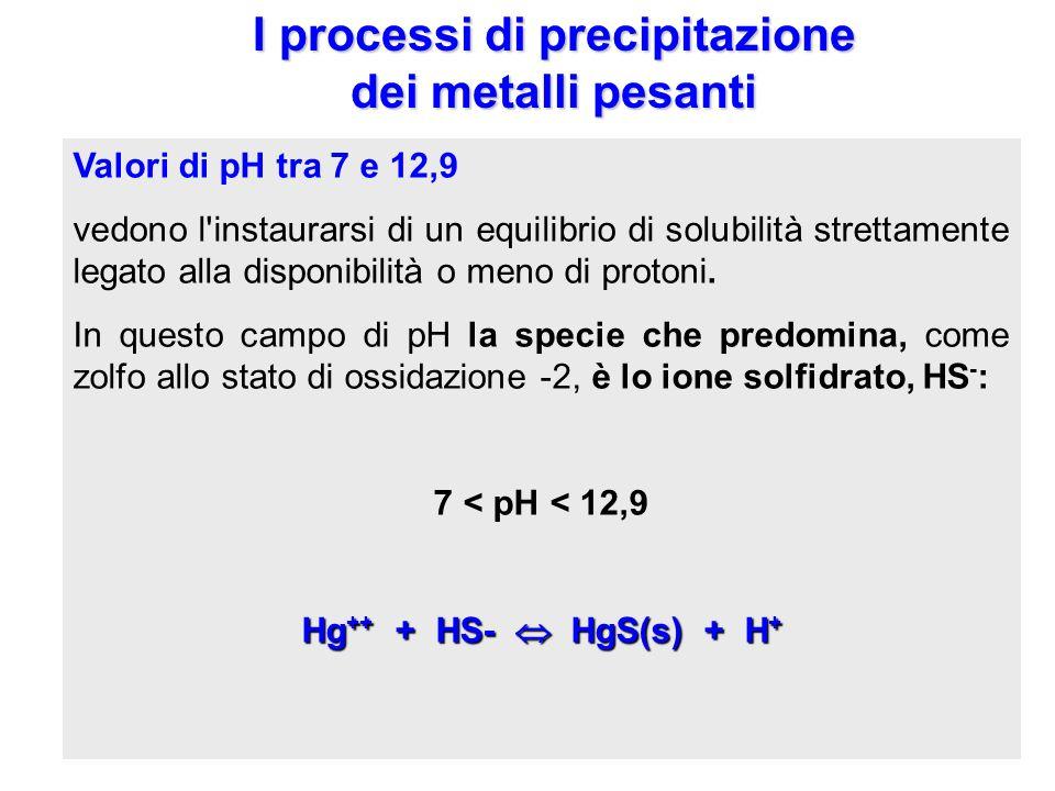 I processi di precipitazione dei metalli pesanti è condizionata dal pH del mezzo acquoso. Valori di pH molto alti favoriscono la precipitazione; in qu