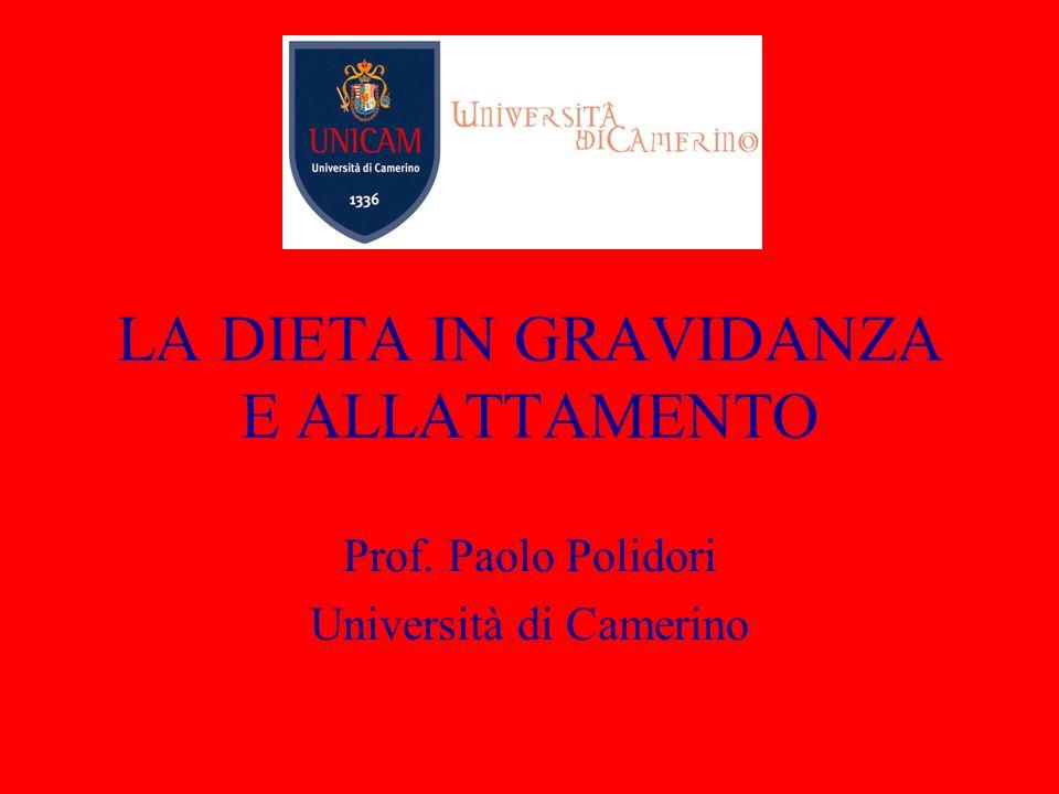 LA DIETA IN GRAVIDANZA E ALLATTAMENTO Prof. Paolo Polidori Università di Camerino