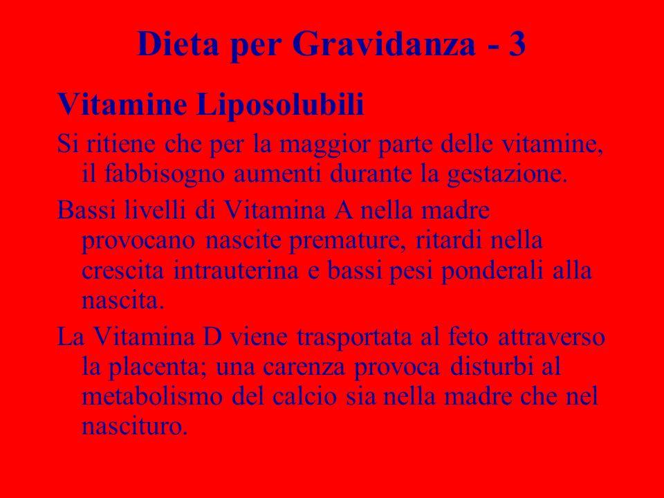 Dieta per Gravidanza - 3 Vitamine Liposolubili Si ritiene che per la maggior parte delle vitamine, il fabbisogno aumenti durante la gestazione. Bassi