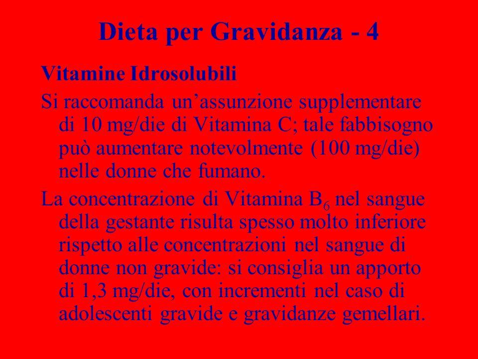 Dieta per Gravidanza - 4 Vitamine Idrosolubili Si raccomanda unassunzione supplementare di 10 mg/die di Vitamina C; tale fabbisogno può aumentare note
