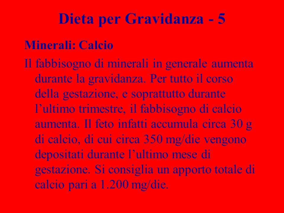 Dieta per Gravidanza - 5 Minerali: Calcio Il fabbisogno di minerali in generale aumenta durante la gravidanza. Per tutto il corso della gestazione, e