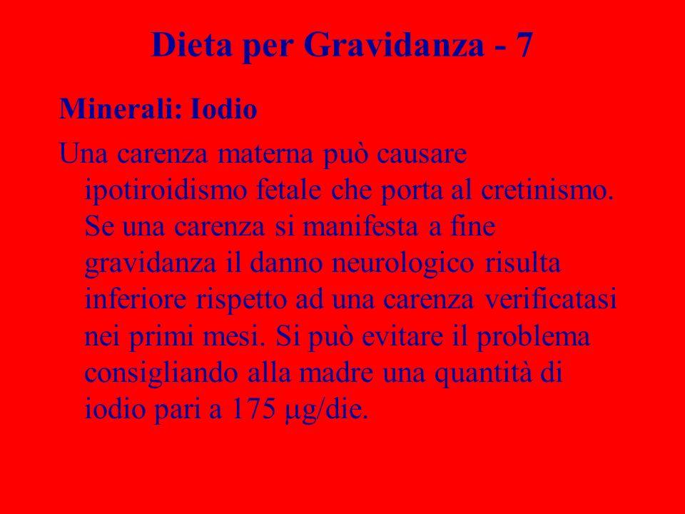 Dieta per Gravidanza - 7 Minerali: Iodio Una carenza materna può causare ipotiroidismo fetale che porta al cretinismo. Se una carenza si manifesta a f