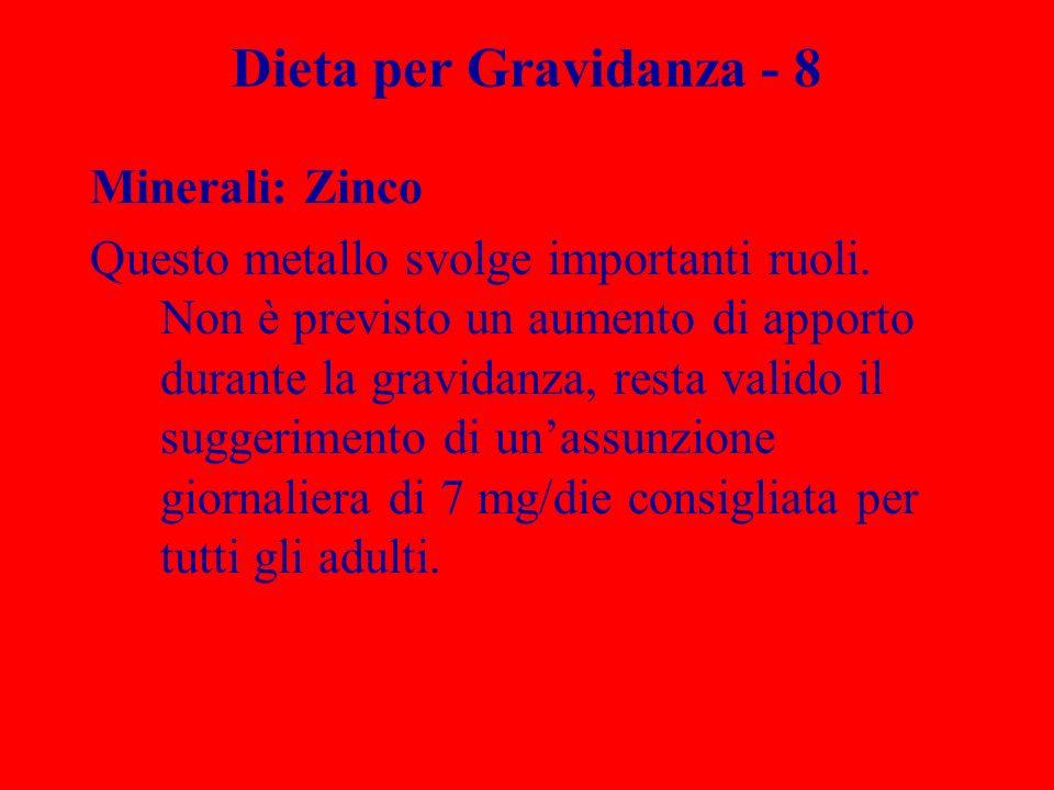 Dieta per Gravidanza - 8 Minerali: Zinco Questo metallo svolge importanti ruoli. Non è previsto un aumento di apporto durante la gravidanza, resta val