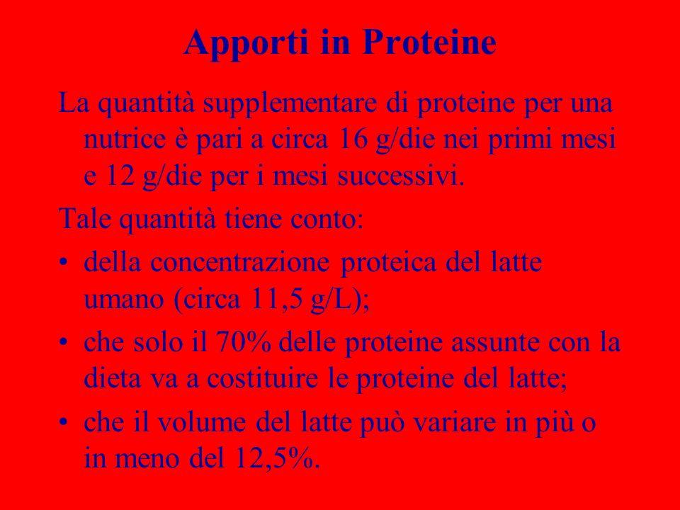 Apporti in Proteine La quantità supplementare di proteine per una nutrice è pari a circa 16 g/die nei primi mesi e 12 g/die per i mesi successivi. Tal