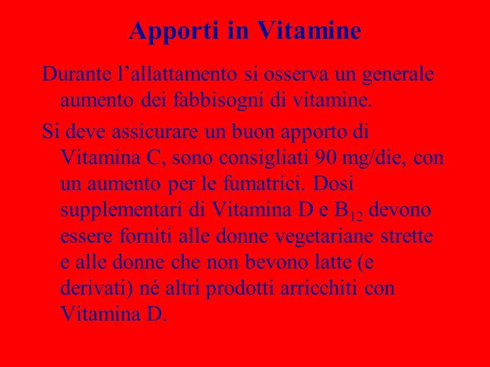 Apporti in Vitamine Durante lallattamento si osserva un generale aumento dei fabbisogni di vitamine. Si deve assicurare un buon apporto di Vitamina C,