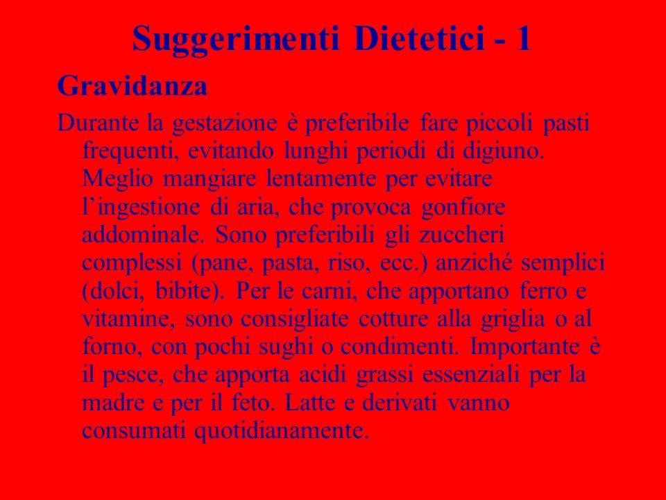 Suggerimenti Dietetici - 1 Gravidanza Durante la gestazione è preferibile fare piccoli pasti frequenti, evitando lunghi periodi di digiuno. Meglio man