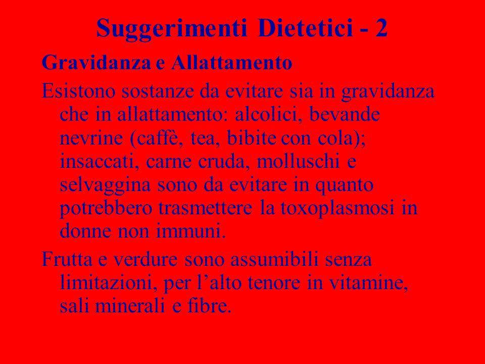 Suggerimenti Dietetici - 2 Gravidanza e Allattamento Esistono sostanze da evitare sia in gravidanza che in allattamento: alcolici, bevande nevrine (ca