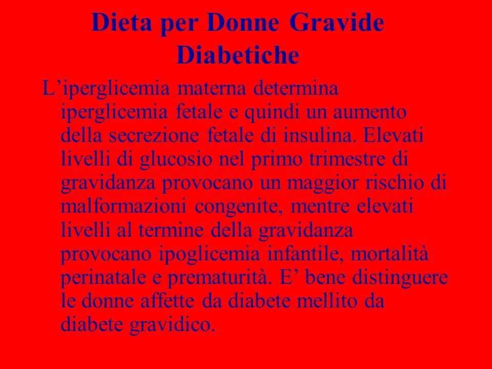Dieta per Donne Gravide Diabetiche Liperglicemia materna determina iperglicemia fetale e quindi un aumento della secrezione fetale di insulina. Elevat