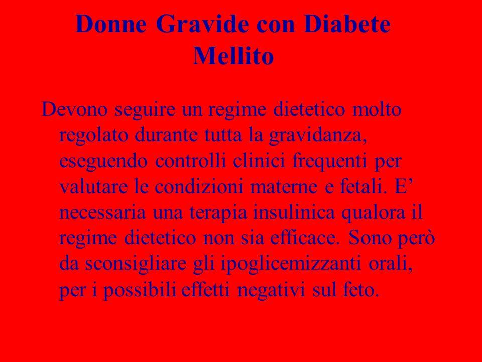 Donne Gravide con Diabete Mellito Devono seguire un regime dietetico molto regolato durante tutta la gravidanza, eseguendo controlli clinici frequenti