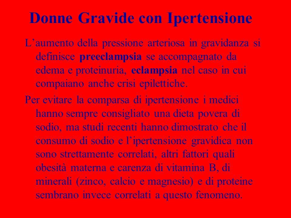 Donne Gravide con Ipertensione Laumento della pressione arteriosa in gravidanza si definisce preeclampsia se accompagnato da edema e proteinuria, ecla