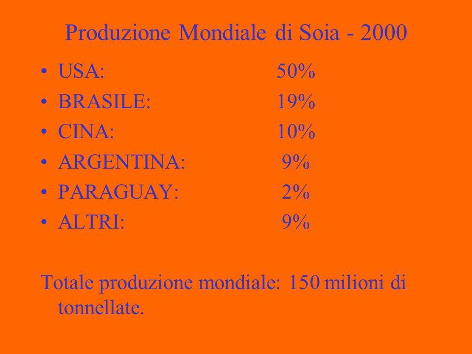 Produzione Mondiale di Soia - 2000 USA: 50% BRASILE: 19% CINA: 10% ARGENTINA: 9% PARAGUAY: 2% ALTRI: 9% Totale produzione mondiale: 150 milioni di tonnellate.