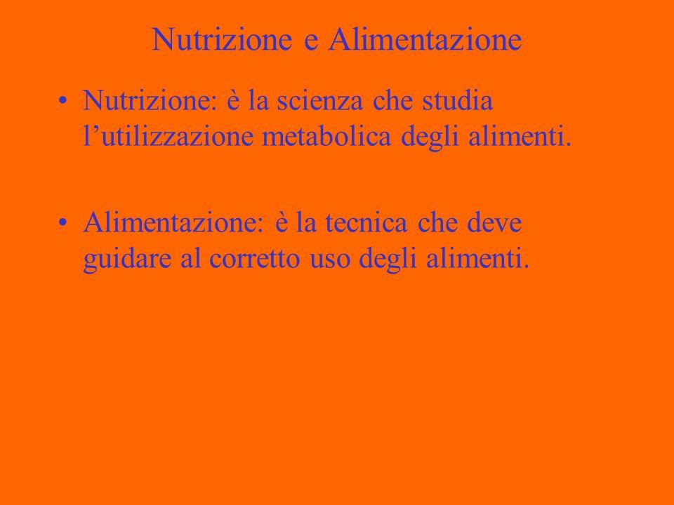 Nutrizione e Alimentazione Nutrizione: è la scienza che studia lutilizzazione metabolica degli alimenti.
