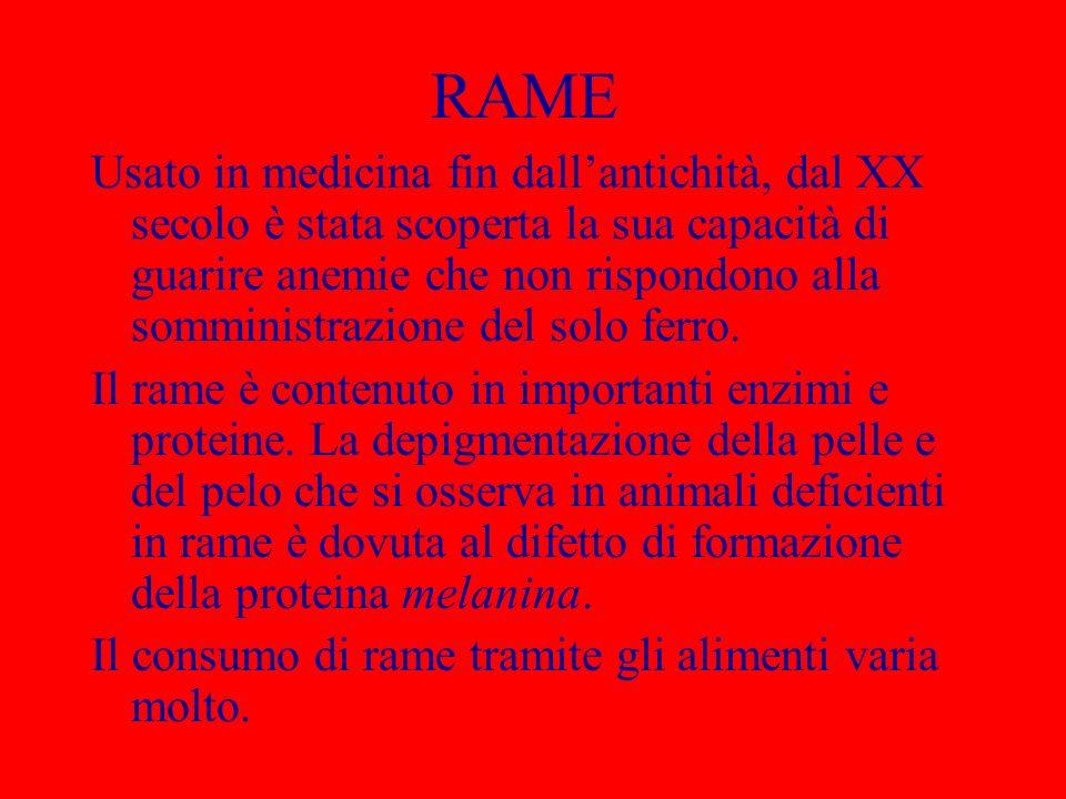 RAME Usato in medicina fin dallantichità, dal XX secolo è stata scoperta la sua capacità di guarire anemie che non rispondono alla somministrazione de