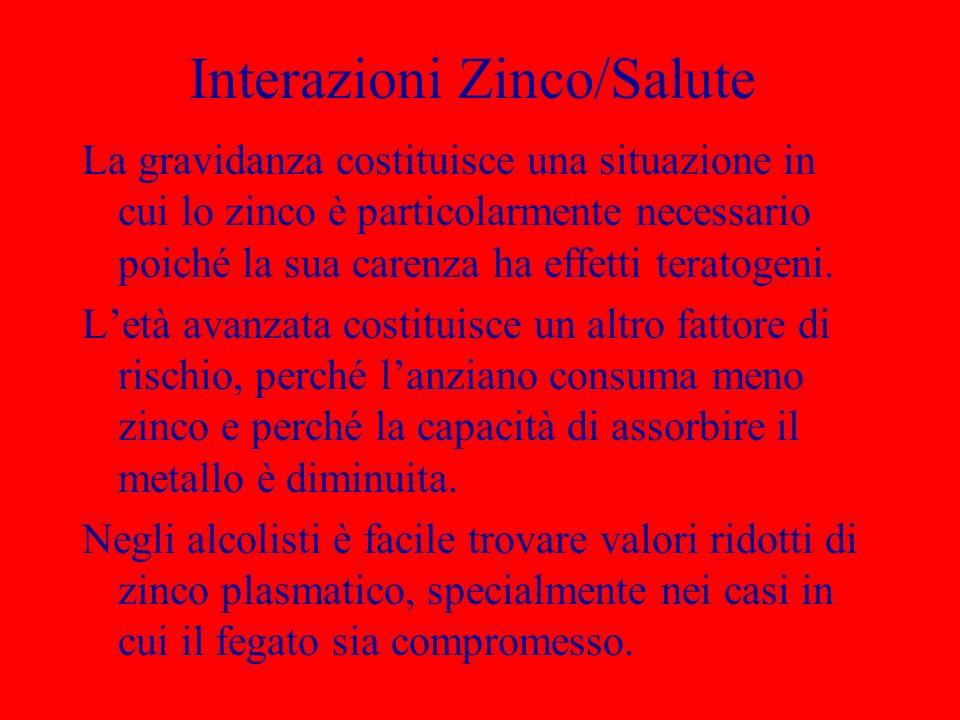 Interazioni Zinco/Salute La gravidanza costituisce una situazione in cui lo zinco è particolarmente necessario poiché la sua carenza ha effetti terato