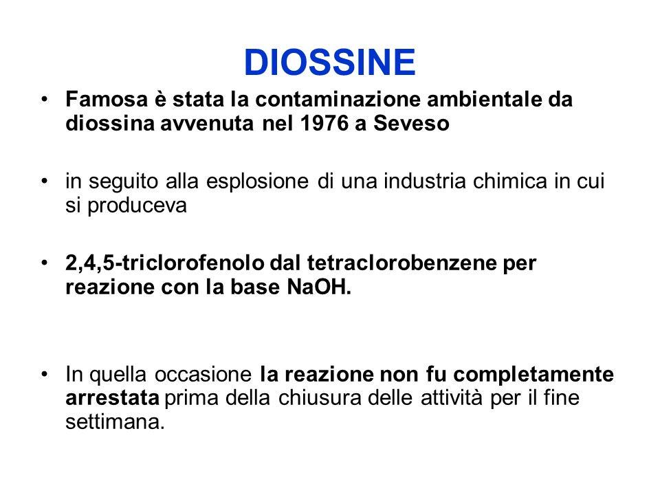 DIOSSINE Famosa è stata la contaminazione ambientale da diossina avvenuta nel 1976 a Seveso in seguito alla esplosione di una industria chimica in cui si produceva 2,4,5-triclorofenolo dal tetraclorobenzene per reazione con la base NaOH.