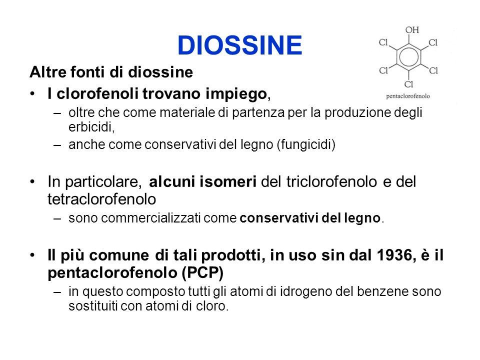 DIOSSINE Altre fonti di diossine I clorofenoli trovano impiego, –oltre che come materiale di partenza per la produzione degli erbicidi, –anche come conservativi del legno (fungicidi) In particolare, alcuni isomeri del triclorofenolo e del tetraclorofenolo –sono commercializzati come conservativi del legno.