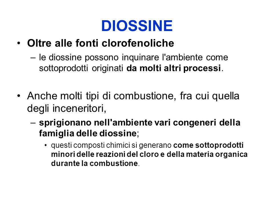 DIOSSINE Oltre alle fonti clorofenoliche –le diossine possono inquinare l ambiente come sottoprodotti originati da molti altri processi.