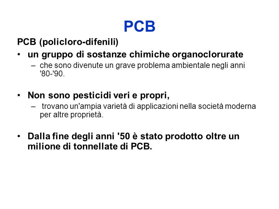 PCB PCB (policloro-difenili) un gruppo di sostanze chimiche organoclorurate –che sono divenute un grave problema ambientale negli anni 80- 90.