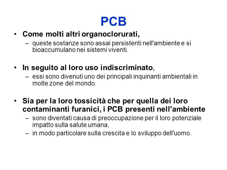 PCB Come molti altri organoclorurati, –queste sostanze sono assai persistenti nell ambiente e si bioaccumulano nei sistemi viventi.