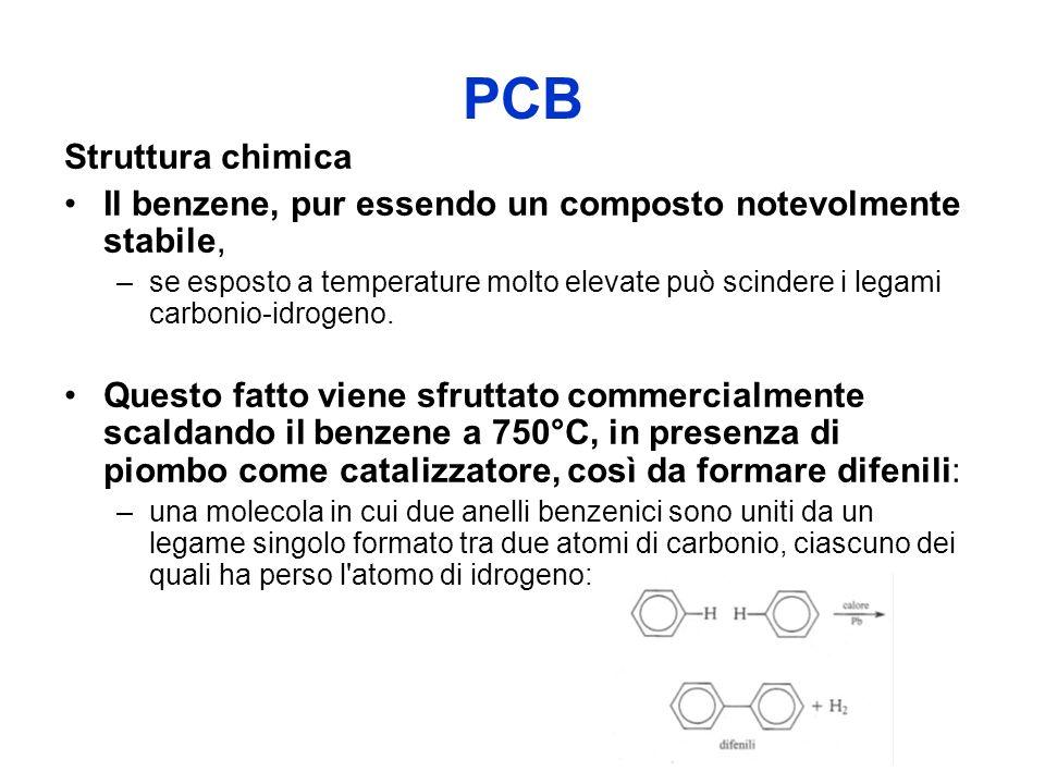 PCB Struttura chimica Il benzene, pur essendo un composto notevolmente stabile, –se esposto a temperature molto elevate può scindere i legami carbonio