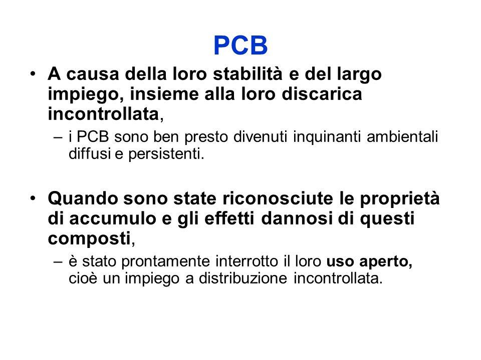 PCB A causa della loro stabilità e del largo impiego, insieme alla loro discarica incontrollata, –i PCB sono ben presto divenuti inquinanti ambientali