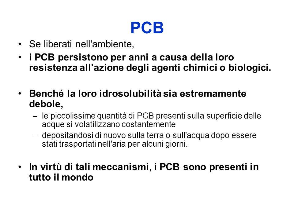 PCB Se liberati nell'ambiente, i PCB persistono per anni a causa della loro resistenza all'azione degli agenti chimici o biologici. Benché la loro idr