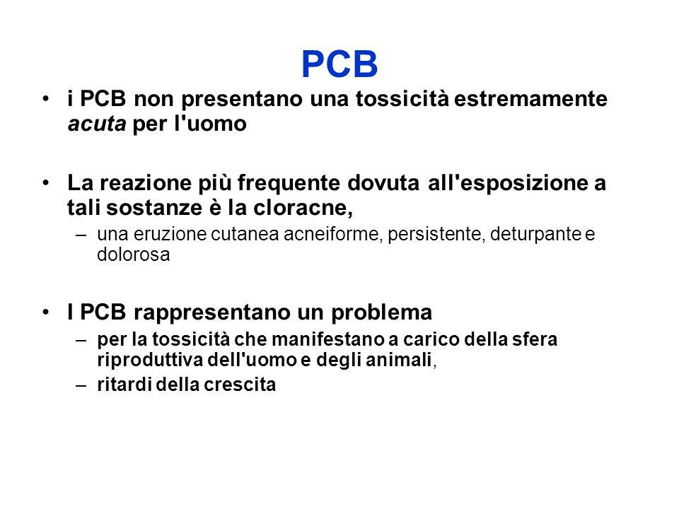 PCB i PCB non presentano una tossicità estremamente acuta per l'uomo La reazione più frequente dovuta all'esposizione a tali sostanze è la cloracne, –