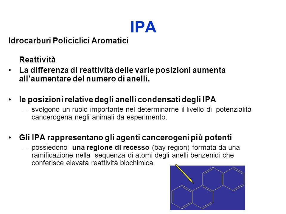 IPA Idrocarburi Policiclici Aromatici Reattività La differenza di reattività delle varie posizioni aumenta allaumentare del numero di anelli. le posiz