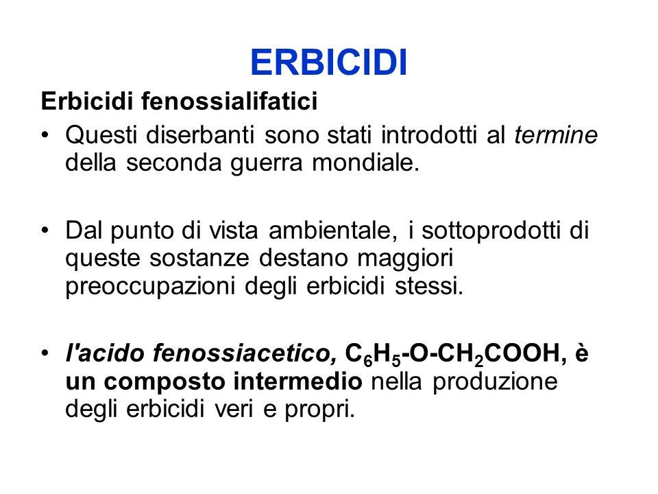 ERBICIDI Erbicidi fenossialifatici Negli erbicidi commerciali, alcuni degli altri cinque atomi di idrogeno dell anello benzenico contenuto nell acido fenossiacetico sono sostituiti da atomi di cloro.
