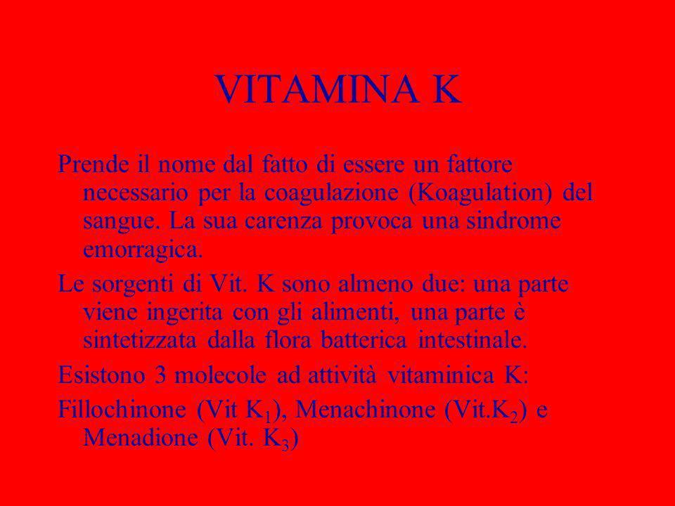 VITAMINA K Prende il nome dal fatto di essere un fattore necessario per la coagulazione (Koagulation) del sangue. La sua carenza provoca una sindrome