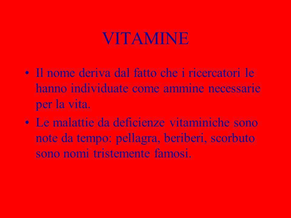 VITAMINE Il nome deriva dal fatto che i ricercatori le hanno individuate come ammine necessarie per la vita. Le malattie da deficienze vitaminiche son