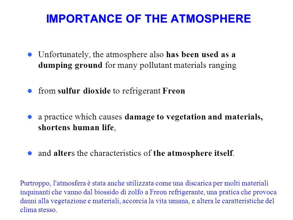 ATMOSFERA TROPOSFERA Va dal livello del mare fino a 11 km di altitudine a diretto contatto con litosfera e idrosfera.