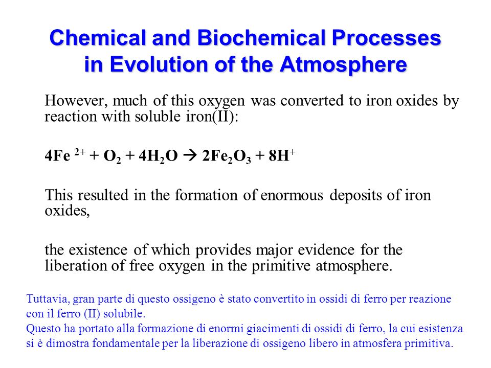 Chemical and Biochemical Processes in Evolution of the Atmosphere However, much of this oxygen was converted to iron oxides by reaction with soluble iron(II): 4Fe 2+ + O 2 + 4H 2 O 2Fe 2 O 3 + 8H + This resulted in the formation of enormous deposits of iron oxides, the existence of which provides major evidence for the liberation of free oxygen in the primitive atmosphere.