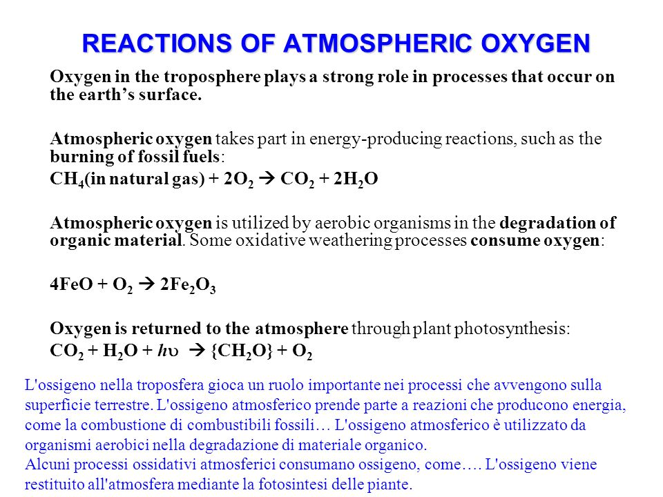 REACTIONS OF ATMOSPHERIC OXYGEN Oxygen in the troposphere plays a strong role in processes that occur on the earths surface.