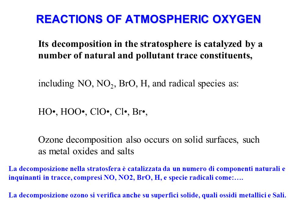 REACTIONS OF ATMOSPHERIC OXYGEN Its decomposition in the stratosphere is catalyzed by a number of natural and pollutant trace constituents, including NO, NO 2, BrO, H, and radical species as: HO, HOO, ClO, Cl, Br, Ozone decomposition also occurs on solid surfaces, such as metal oxides and salts La decomposizione nella stratosfera è catalizzata da un numero di componenti naturali e inquinanti in tracce, compresi NO, NO2, BrO, H, e specie radicali come:….