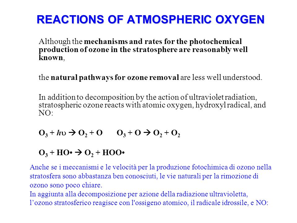 REACTIONS OF ATMOSPHERIC OXYGEN Although the mechanisms and rates for the photochemical production of ozone in the stratosphere are reasonably well known, the natural pathways for ozone removal are less well understood.