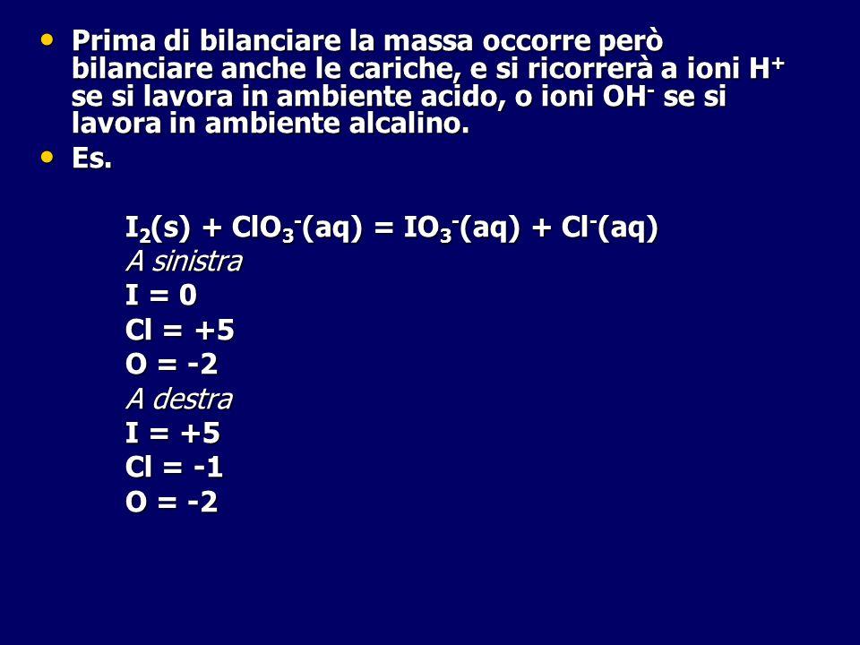 Prima di bilanciare la massa occorre però bilanciare anche le cariche, e si ricorrerà a ioni H + se si lavora in ambiente acido, o ioni OH - se si lav