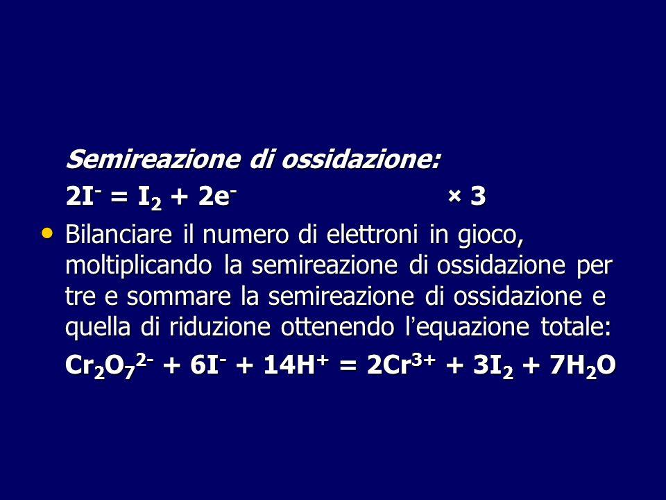 Semireazione di ossidazione: 2I - = I 2 + 2e - × 3 Bilanciare il numero di elettroni in gioco, moltiplicando la semireazione di ossidazione per tre e