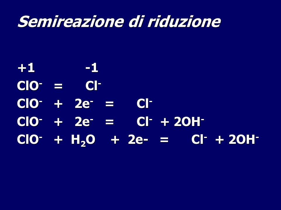 Semireazione di riduzione +1 -1 ClO - = Cl - ClO - + 2e - = Cl - ClO - + 2e - = Cl - + 2OH - ClO - + H 2 O + 2e- = Cl - + 2OH -