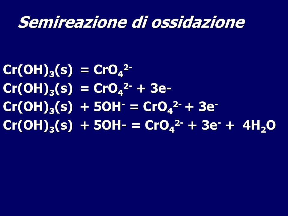 Semireazione di ossidazione Cr(OH) 3 (s) = CrO 4 2- Cr(OH) 3 (s) = CrO 4 2- + 3e- Cr(OH) 3 (s) + 5OH - = CrO 4 2- + 3e - Cr(OH) 3 (s) + 5OH- = CrO 4 2
