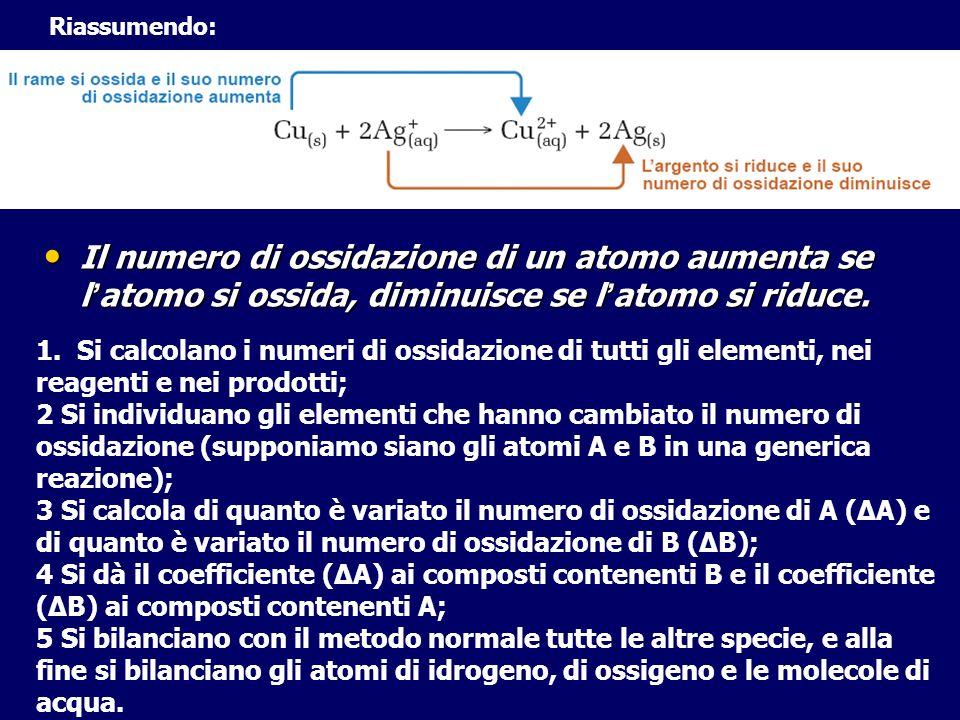 Il numero di ossidazione di un atomo aumenta se l atomo si ossida, diminuisce se l atomo si riduce. Il numero di ossidazione di un atomo aumenta se l