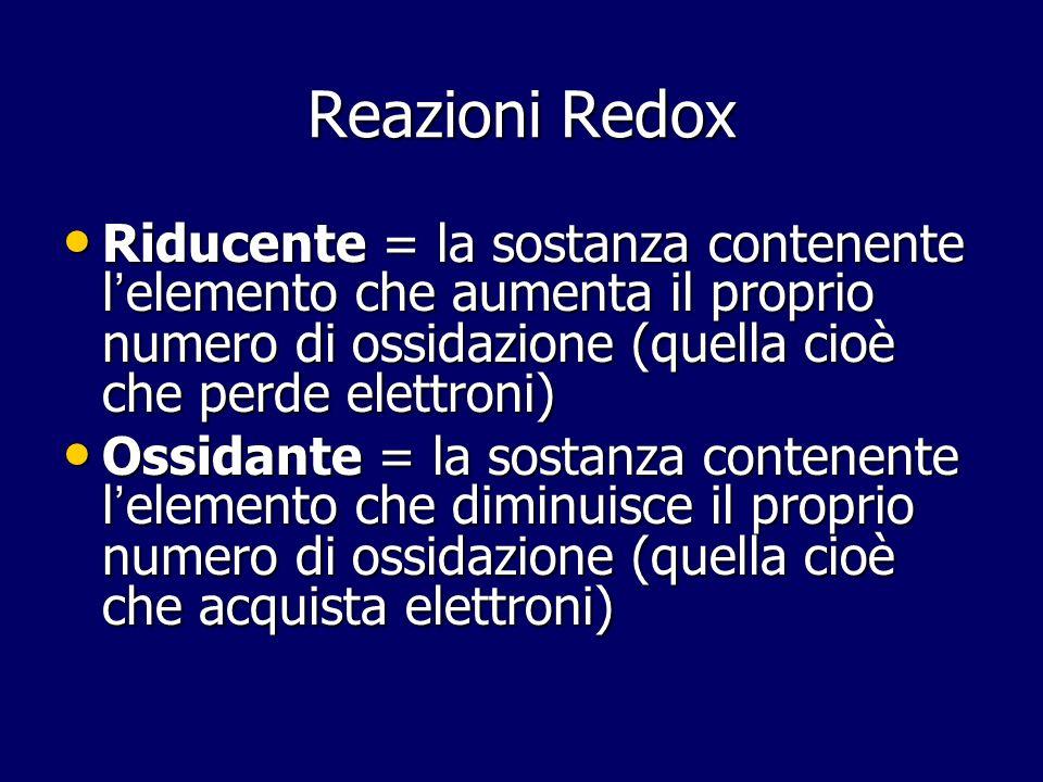Reazioni Redox Riducente = la sostanza contenente l elemento che aumenta il proprio numero di ossidazione (quella cioè che perde elettroni) Riducente