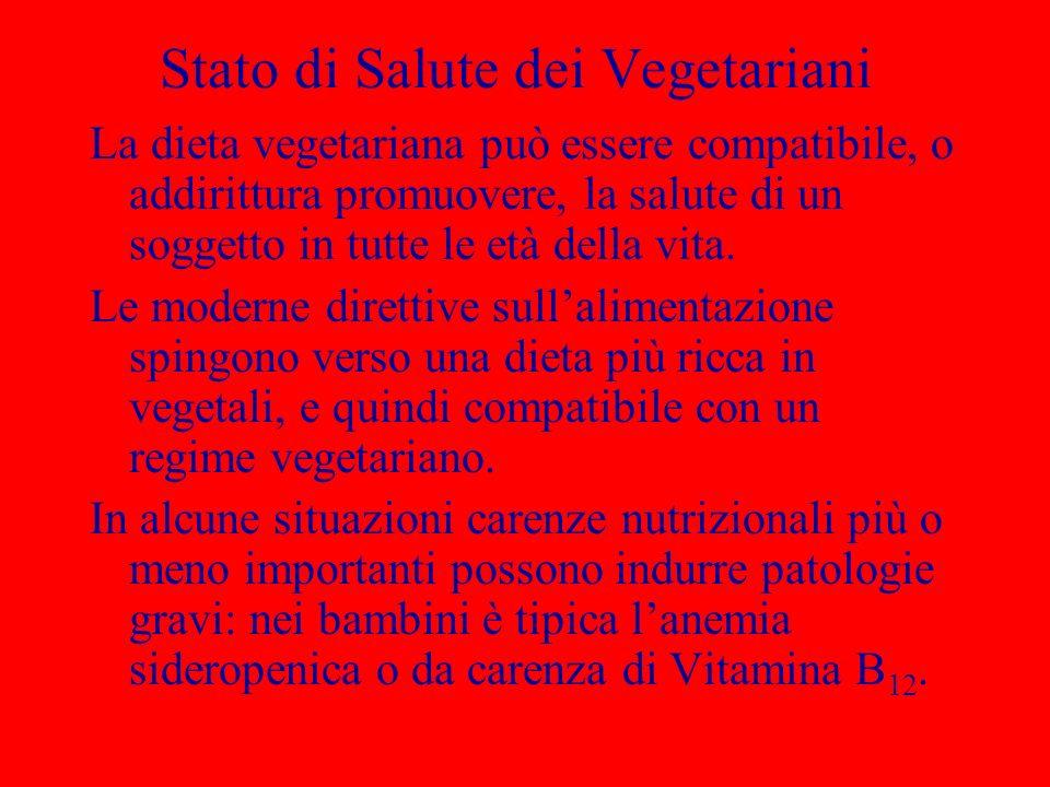 Stato di Salute dei Vegetariani La dieta vegetariana può essere compatibile, o addirittura promuovere, la salute di un soggetto in tutte le età della