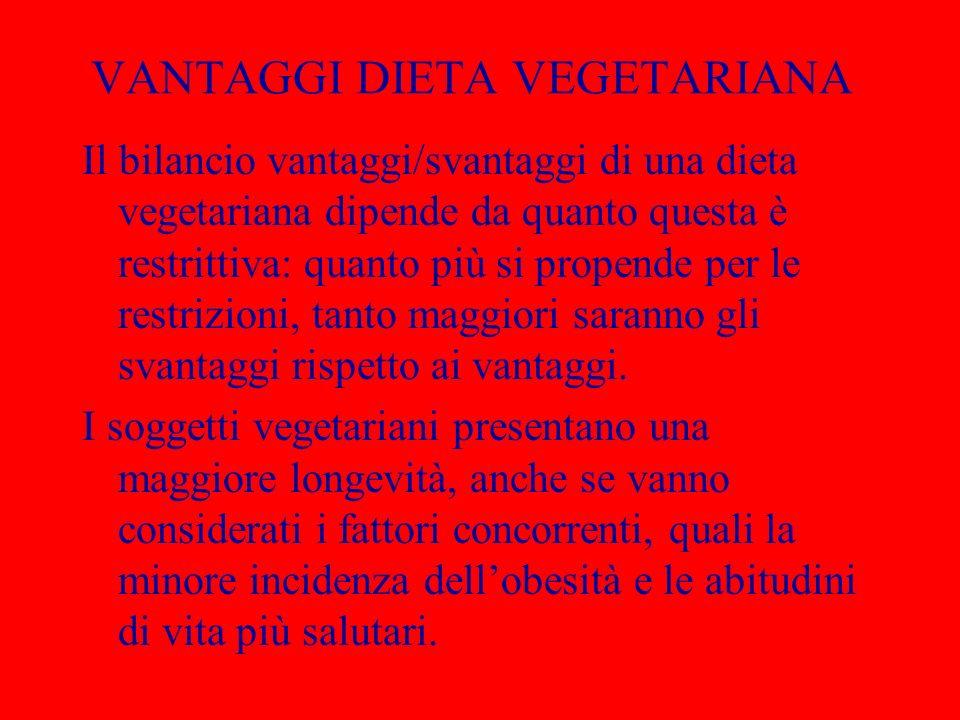 VANTAGGI DIETA VEGETARIANA Il bilancio vantaggi/svantaggi di una dieta vegetariana dipende da quanto questa è restrittiva: quanto più si propende per