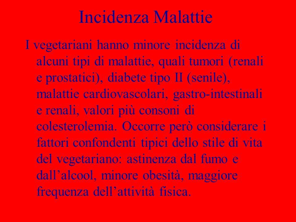Incidenza Malattie I vegetariani hanno minore incidenza di alcuni tipi di malattie, quali tumori (renali e prostatici), diabete tipo II (senile), mala