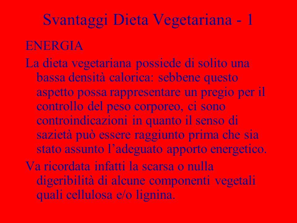 Svantaggi Dieta Vegetariana - 2 PROTEINE La quantità assunta dai vegetariani è normalmente adeguata, mentre più critica può essere nei vegetariani stretti la qualità, dal momento che il valore biologico delle proteine vegetali corrisponde al 70-90% delle proteine animali.