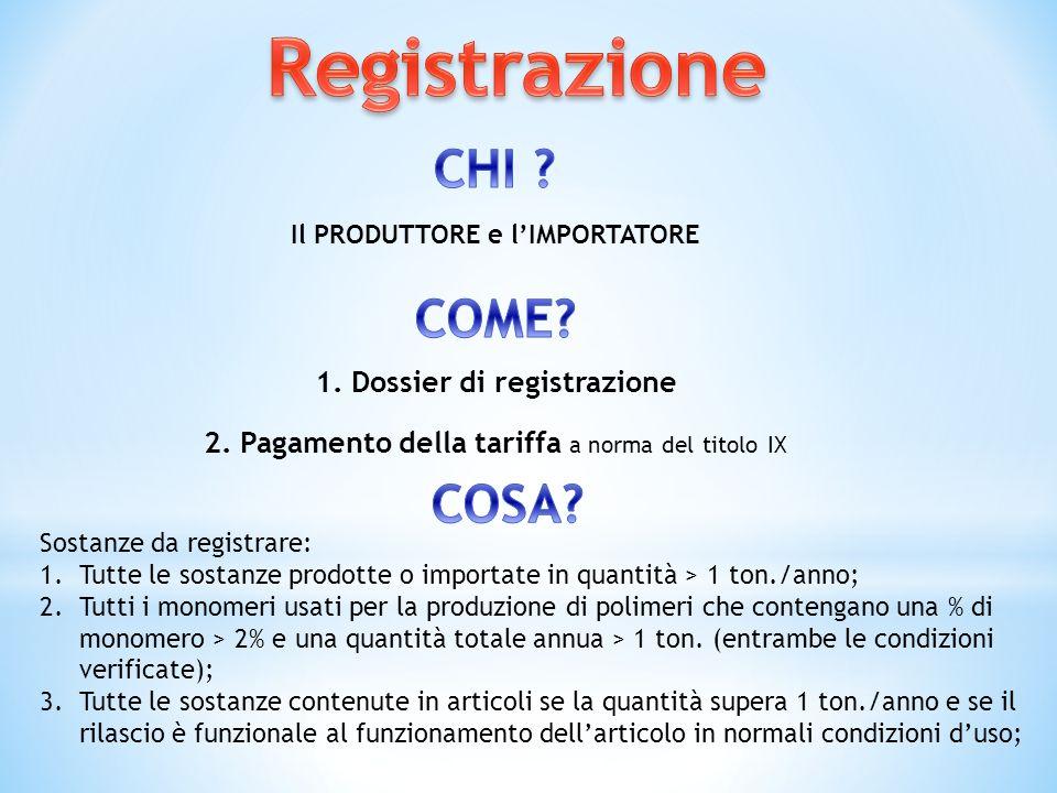 1. Dossier di registrazione Il PRODUTTORE e lIMPORTATORE 2. Pagamento della tariffa a norma del titolo IX Sostanze da registrare: 1.Tutte le sostanze