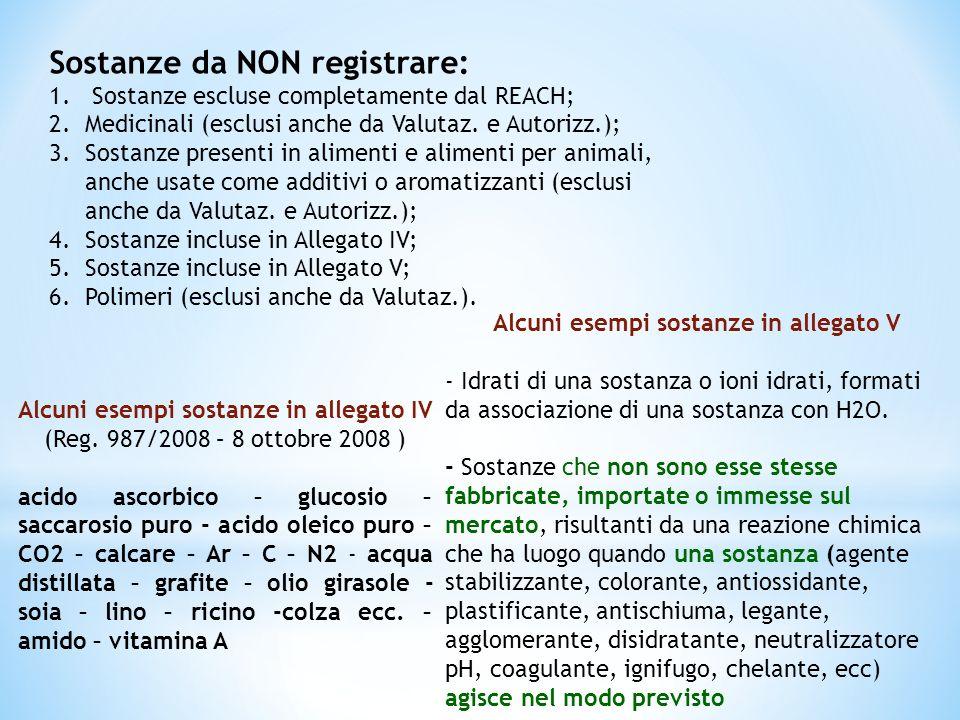 Sostanze da NON registrare: 1. Sostanze escluse completamente dal REACH; 2.Medicinali (esclusi anche da Valutaz. e Autorizz.); 3.Sostanze presenti in
